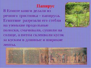 Папирус В Египте книги делали из речного тростника – папируса. Египтяне разре
