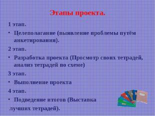 Этапы проекта. 1 этап. Целеполагание (выявление проблемы путём анкетирования)