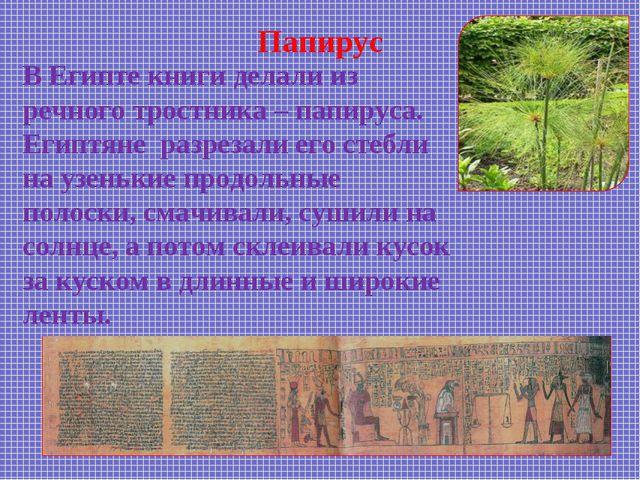 Папирус В Египте книги делали из речного тростника – папируса. Египтяне разре...