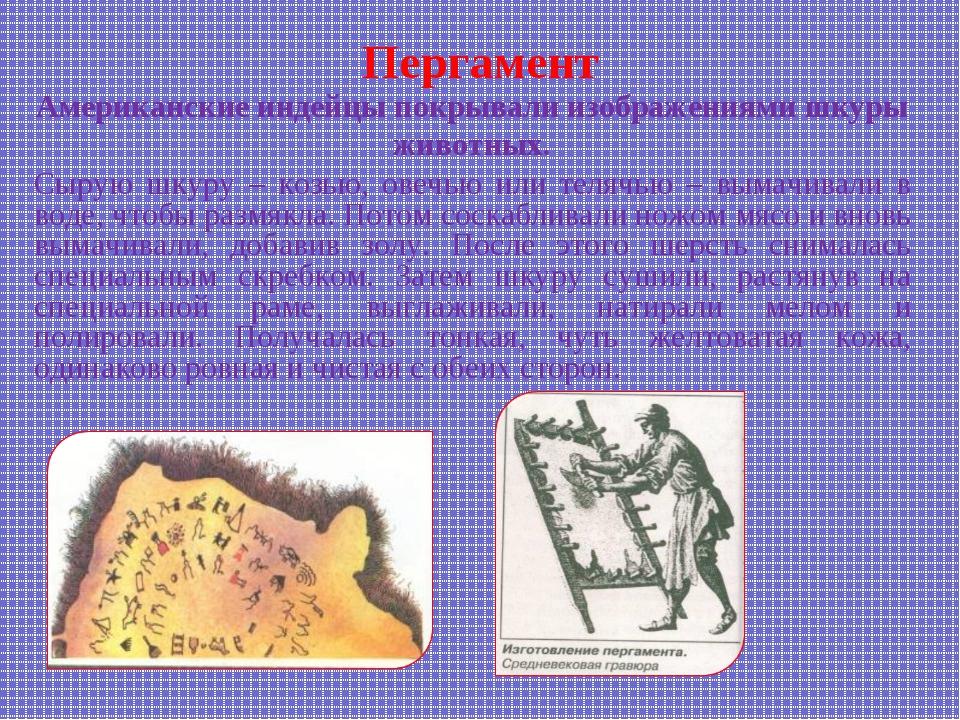 Пергамент Американские индейцы покрывали изображениями шкуры животных. Сырую...