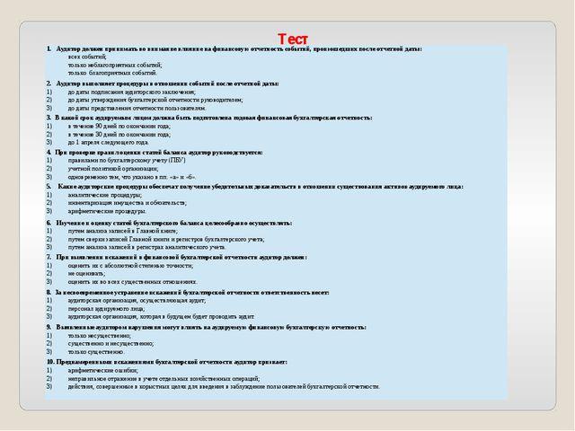 Тест 1. Аудитордолжен принимать во внимание влияние на финансовую отчетность...