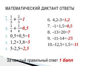 МАТЕМАТИЧЕСКИЙ ДИКТАНТ ОТВЕТЫ 4,2-3=1,2 -1+1,5=0,5 -13+20=7 -11-14=-25 -12,5+