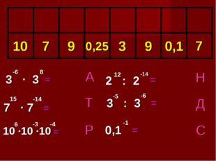 Р Т А Д Н С = = = = 3 ∙ 3 = 0,1 -1 7 ∙ 7 10 ∙10 ∙10 6 -3 0,1 2 : 2 = 12 -14 8