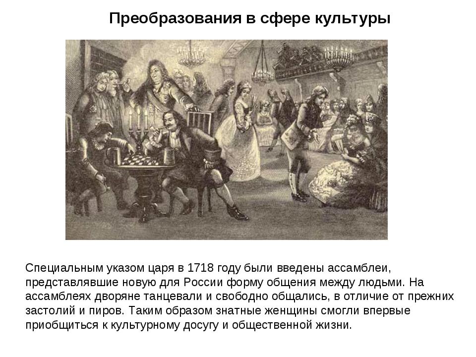 Преобразования в сфере культуры Специальным указом царя в 1718 году были введ...