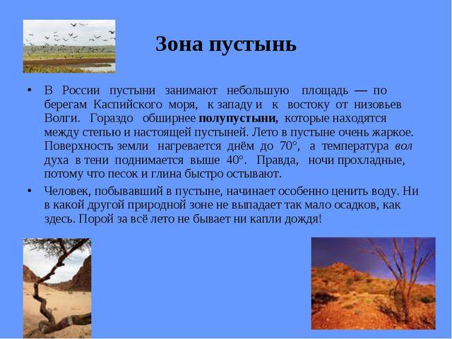 Зона пустынь В России пустыни занимают небольшую площадь — по берегам Каспийс...