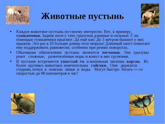 Животные пустынь Каждое животное пустынь по-своему интересно. Вот, к примеру,...