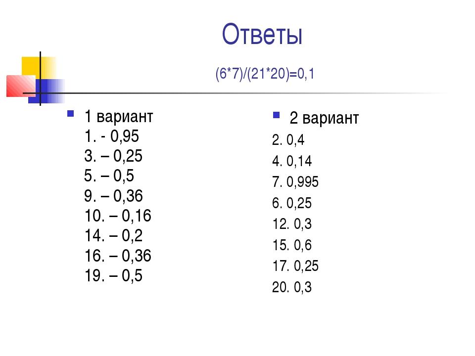 Ответы (6*7)/(21*20)=0,1 1 вариант 1. - 0,95 3. – 0,25 5. – 0,5 9. – 0,36 10....