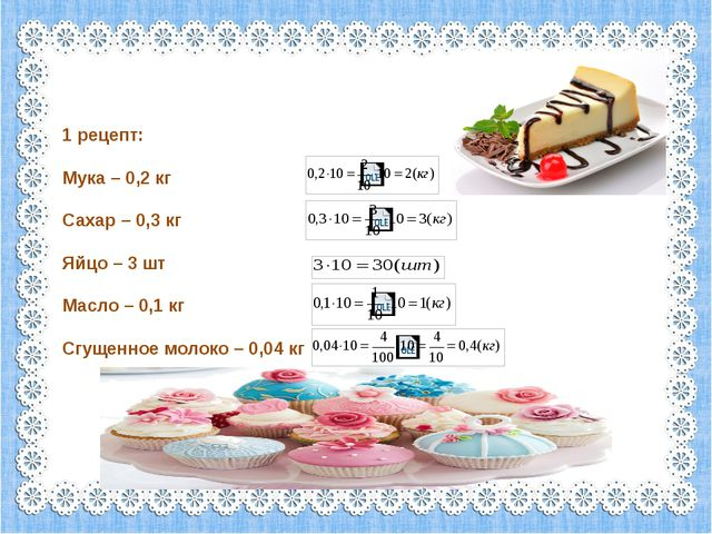 1 рецепт: Мука – 0,2 кг Сахар – 0,3 кг Яйцо – 3 шт Масло – 0,1 кг Сгущенное...