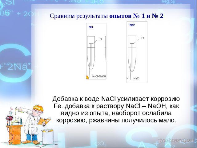Добавка к воде NaCl усиливает коррозию Fe. добавка к раствору NaCl – NaOH, ка...