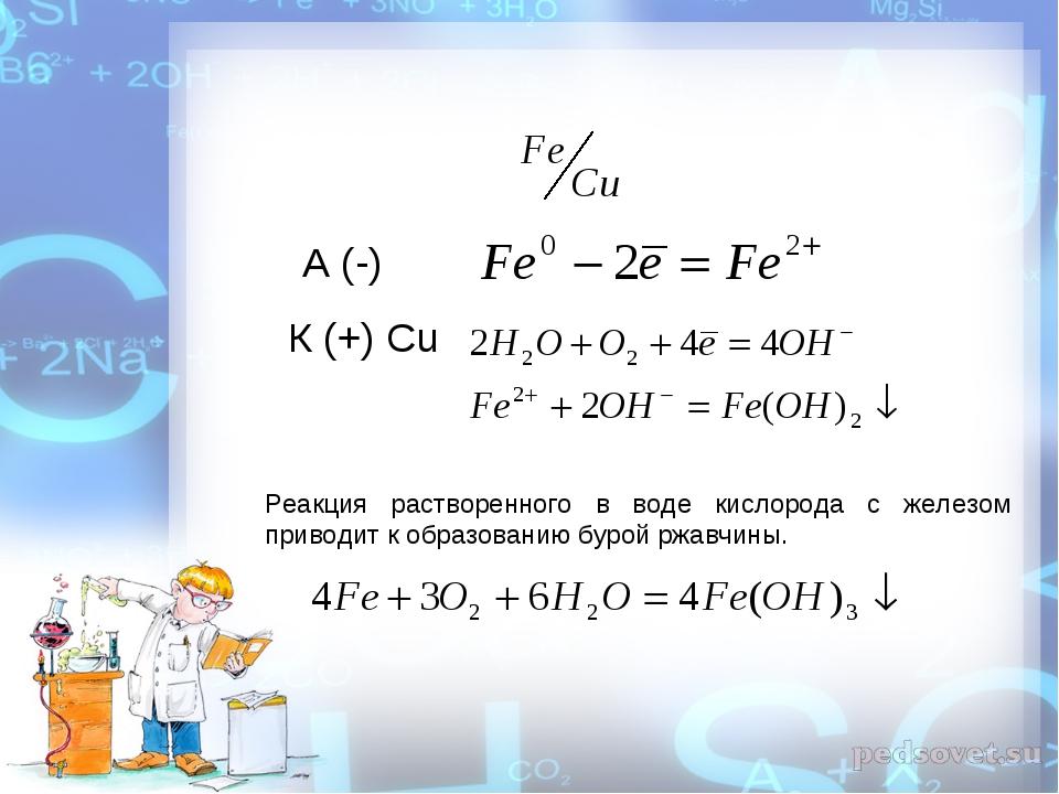 А (-) К (+) Cu Реакция растворенного в воде кислорода с железом приводит к об...