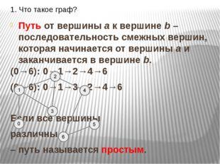 1. Что такое граф? Путь от вершины a к вершине b –последовательность смежных