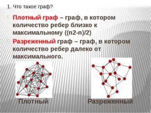 1. Что такое граф? Плотный граф – граф, в котором количество ребер близко к м