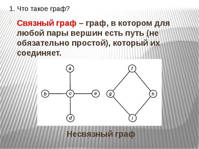 1. Что такое граф? Связный граф – граф, в котором для любой пары вершин есть...