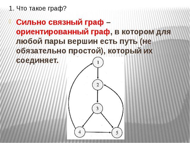 1. Что такое граф? Сильно связный граф – ориентированный граф, в котором для...