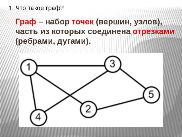 1. Что такое граф? Граф – набор точек (вершин, узлов), часть из которых соеди...