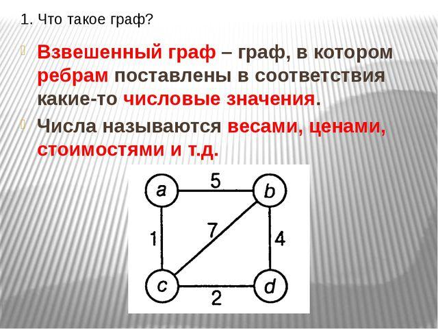 1. Что такое граф? Взвешенный граф – граф, в котором ребрам поставлены в соот...