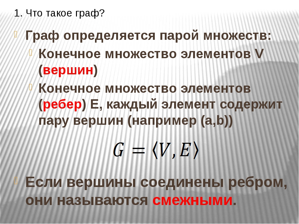 1. Что такое граф? Граф определяется парой множеств: Конечное множество элеме...