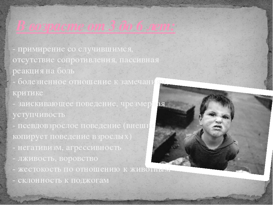 В возрасте от 3 до 6 лет: - примирение со случившимся, отсутствие сопротивлен...
