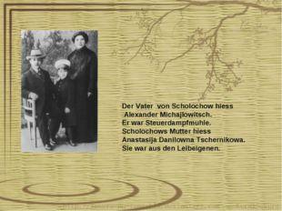 Der Vater von Scholochow hiess Alexander Michajlowitsch. Er war Steuerdampfmu