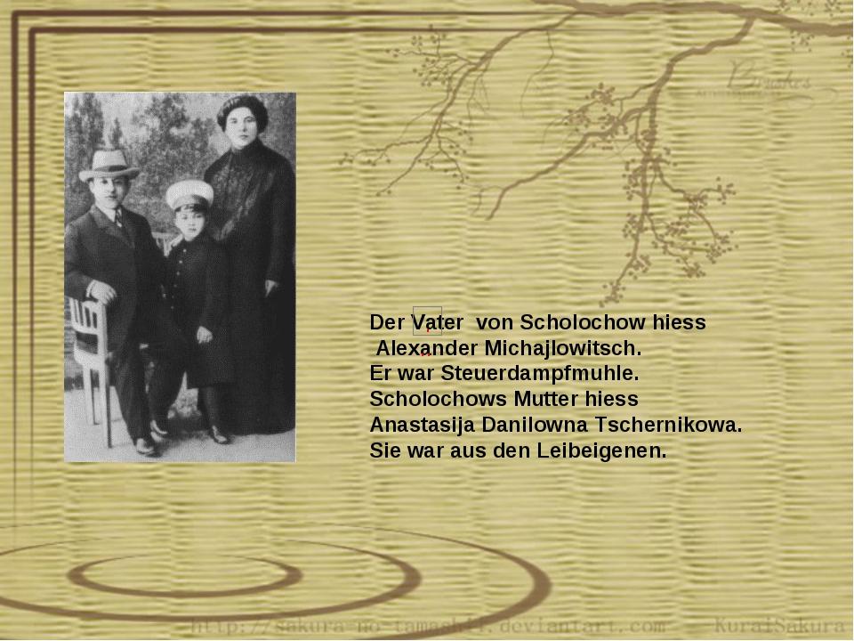 Der Vater von Scholochow hiess Alexander Michajlowitsch. Er war Steuerdampfmu...