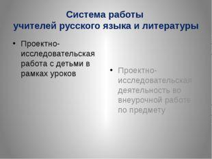 Система работы учителей русского языка и литературы Проектно-исследовательска