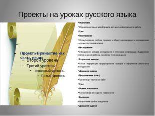 Проекты на уроках русского языка Подготовка Определение темы и целей проекта,