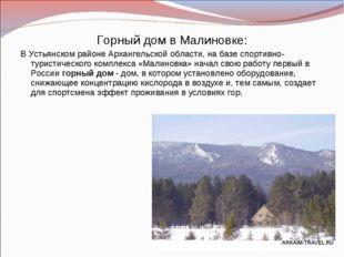 Горный дом в Малиновке: В Устьянском районе Архангельской области, на базе сп