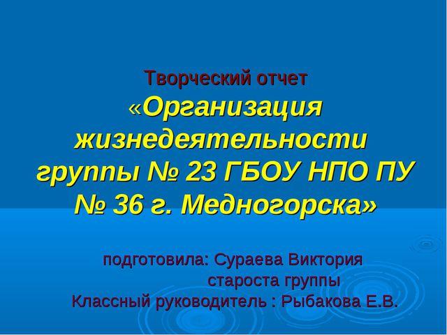 Творческий отчет «Организация жизнедеятельности группы № 23 ГБОУ НПО ПУ № 36...