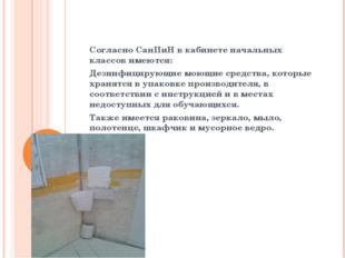 Согласно СанПиН в кабинете начальных классов имеются: Дезинфицирующие моющие