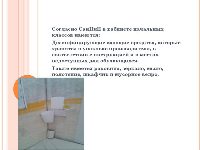 Согласно СанПиН в кабинете начальных классов имеются: Дезинфицирующие моющие...