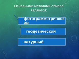Основными методами обмера являются: фотограмметрический геодезический натурный