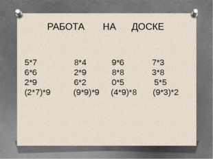 РАБОТА НА ДОСКЕ 5*7 8*4 9*6 7*3 6*6 2*9 8*8 3*8 2*9 6*2 0*5 5*5 (2*7)*9 (9*9)