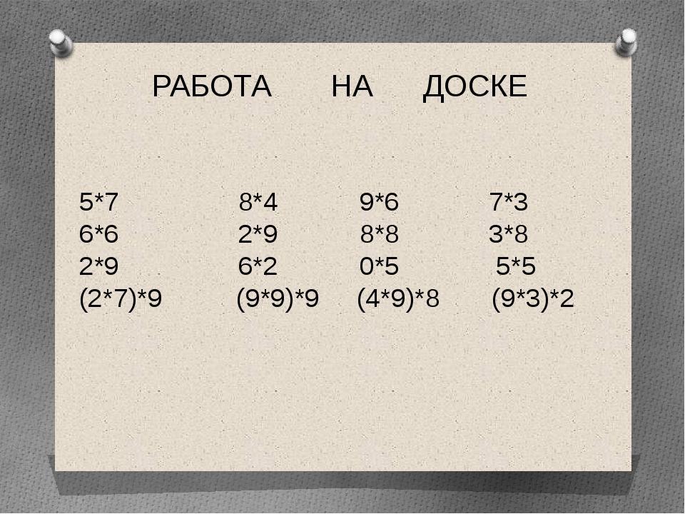 РАБОТА НА ДОСКЕ 5*7 8*4 9*6 7*3 6*6 2*9 8*8 3*8 2*9 6*2 0*5 5*5 (2*7)*9 (9*9)...