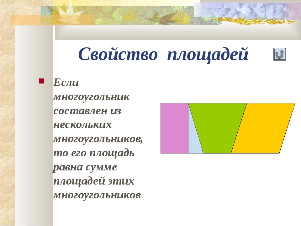 Свойство площадей Если многоугольник составлен из нескольких многоугольников,...