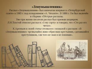 «Злоумышленник» Рассказ «Злоумышленник» был напечатан впервые в «Петербургско