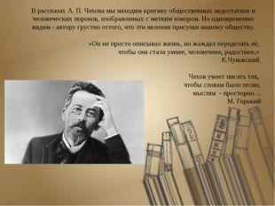 В рассказах А. П. Чехова мы находим критику общественных недостатков и челове