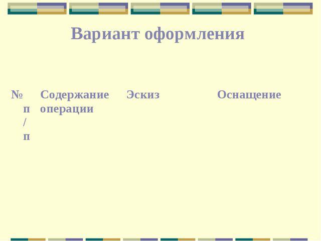 Вариант оформления № п/пСодержание операцииЭскизОснащение