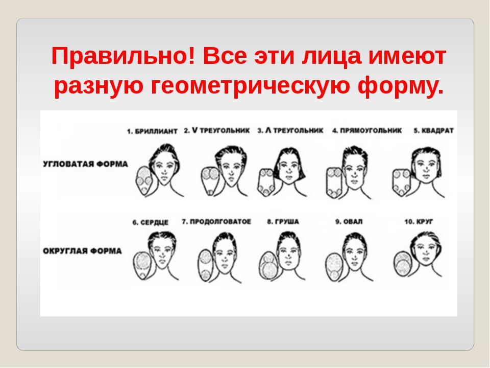 Правильно! Все эти лица имеют разную геометрическую форму.
