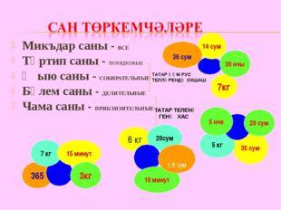 Микъдар саны - ВСЕ Тәртип саны - ПОРЯДКОВЫЕ Җыю саны - СОБИРАТЕЛЬНЫЕ Бүлем са