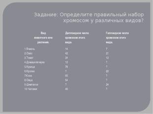 Задание: Определите правильный набор хромосом у различных видов? Вид животног
