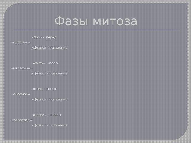 Фазы митоза «про» - перед «профаза» «фазис» - появление  «мета» - после «мет...