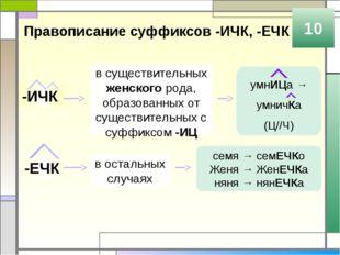 Правописание суффиксов -ИЧК, -ЕЧК 10 -ИЧК -ЕЧК в существительных женского род