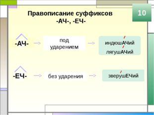Правописание суффиксов -ОВАТ, -ОВИТ, -ЕВАТ, -ЕВИТ 10 -ОВАТ пишется после твёр