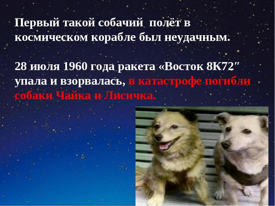 Первый такой собачий полёт в космическом корабле был неудачным. 28 июля 1960...