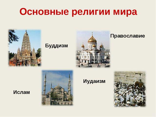Основные религии мира Православие Ислам Буддизм Иудаизм