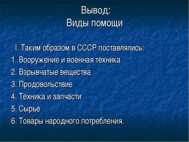 Вывод: Виды помощи I. Таким образом в СССР поставлялись: 1. Вооружение и вое...