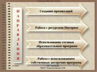 Принцип равенства позиций * Л.В. Гончарова. МКОУ Петропавловская СОШ Л.В. Го
