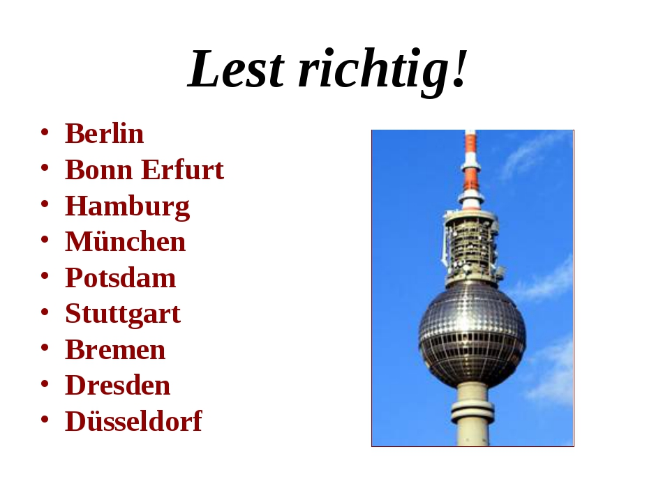 Lest richtig! Berlin Bonn Erfurt Hamburg München Potsdam Stuttgart Bremen Dre...