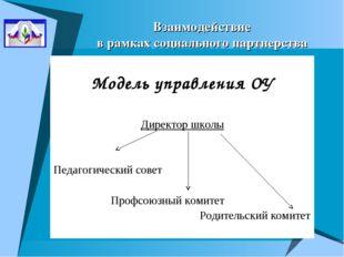 Взаимодействие в рамках социального партнерства Модель управления ОУ Директор