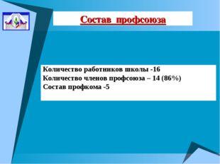 Состав профсоюза Количество работников школы -16 Количество членов профсоюза